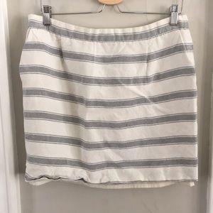 Linen/ Silk Striped Mini Skirt - Pockets!